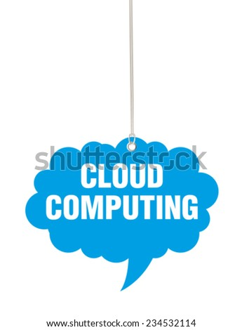 Blue Cloud Computing Tag - stock vector