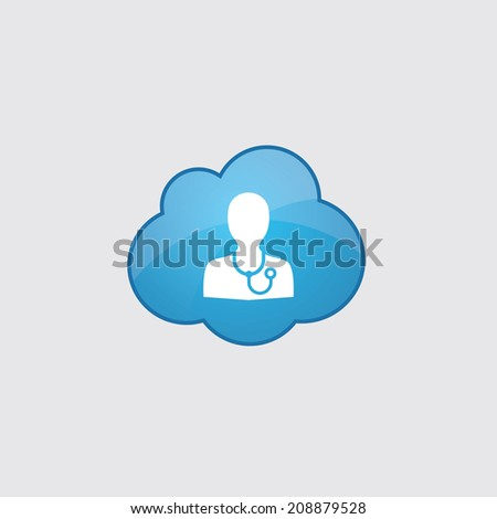 Blue cloud doctor icon, isolated on gray background