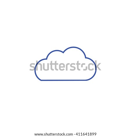 Blue Cloud Outline Vector Icon Weather Forecast