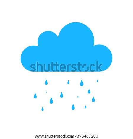 Blue Cloud Rain vector icon. Forecast symbol, rain storm