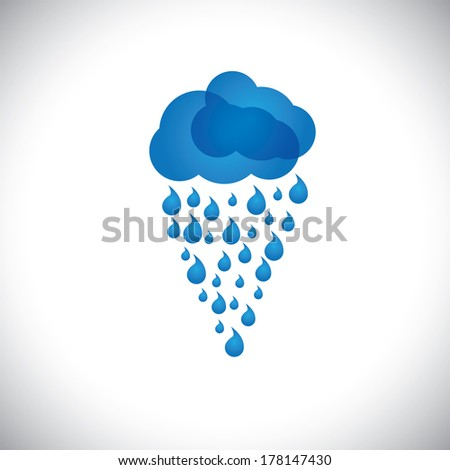 blue clouds & rain vector icon, sign or symbol on white background. This graphic also represents rainstorm, heavy rainfall, monsoon, rainy season, inclement weather, drizzle, spate, downpour, etc - stock vector