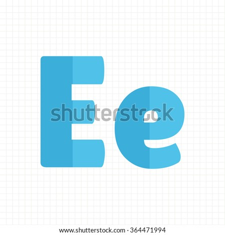 blue color alphabet letters E - stock vector
