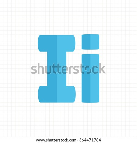 blue color alphabet letters I - stock vector