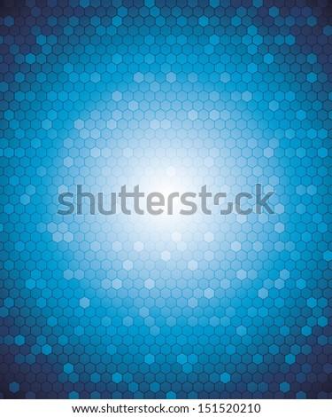 blue color geometric hexagon seamless pattern. vector. - stock vector