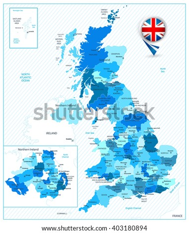 Blue color map of the Great Britain. All elements are separated in editable layers clearly labeled. - stock vector