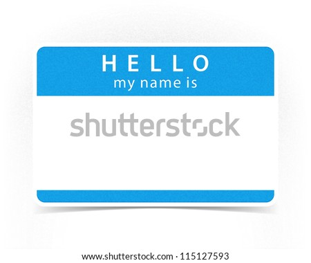 Blue color name tag blank sticker hello my name is with drop gray shadow on white