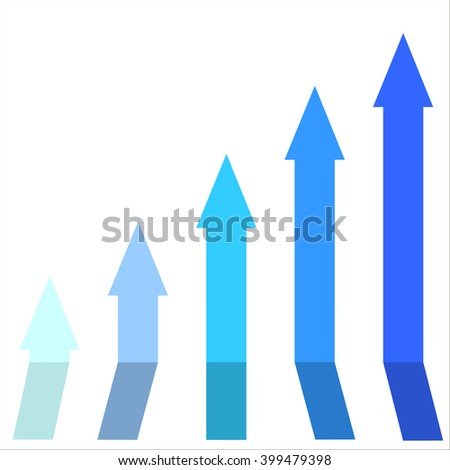 Blue color of graph rising up, indicating positive vibes and direction in business aspects.Growing bars graphic icon
