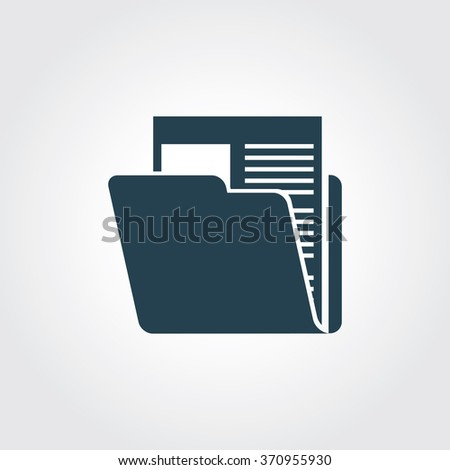 Blue Colored Icon of Computer Folder On Gray Color Background. Eps-10. - stock vector