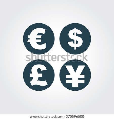 Blue Colored Icon of Currency Signs On Gray Color Background. Eps-10. - stock vector