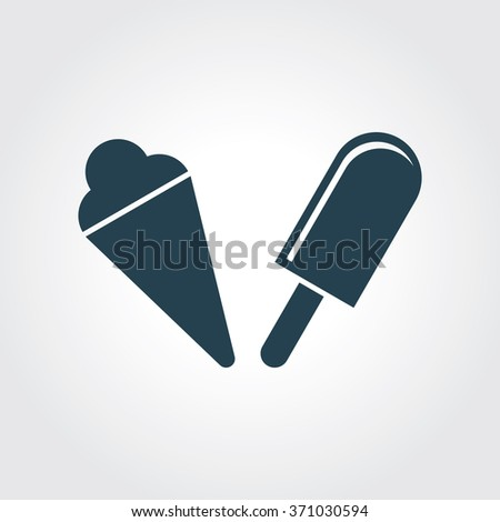 Blue Colored Icon of Ice Candy & Ice Cream On Gray Color Background. Eps-10. - stock vector