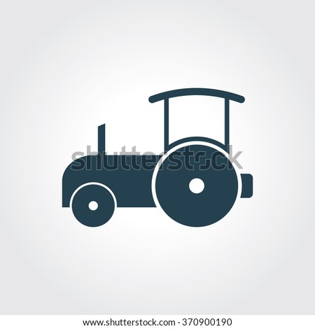 Blue Colored Icon of Road Roller On Gray Color Background. Eps-10. - stock vector