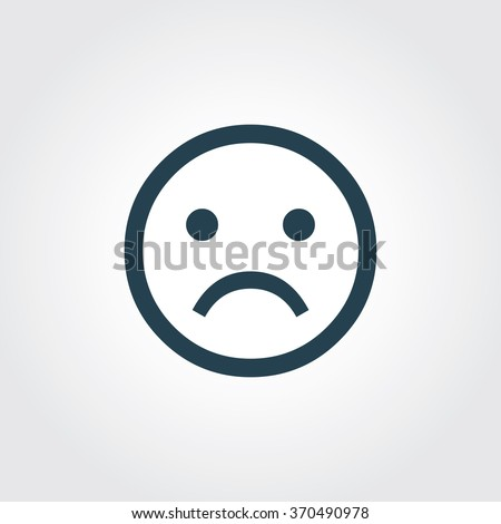 Blue Colored Icon of Sad Emotions On Gray Color Background. Eps-10. - stock vector