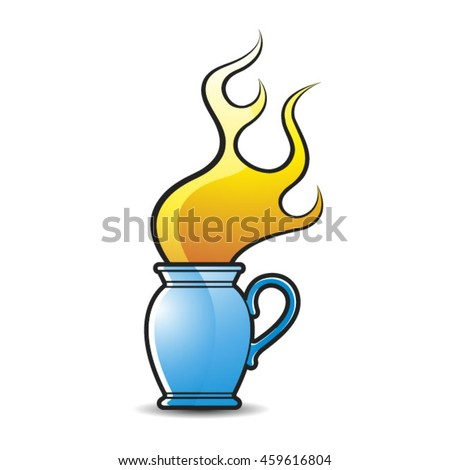 blue colored jug with flame-vector drawing