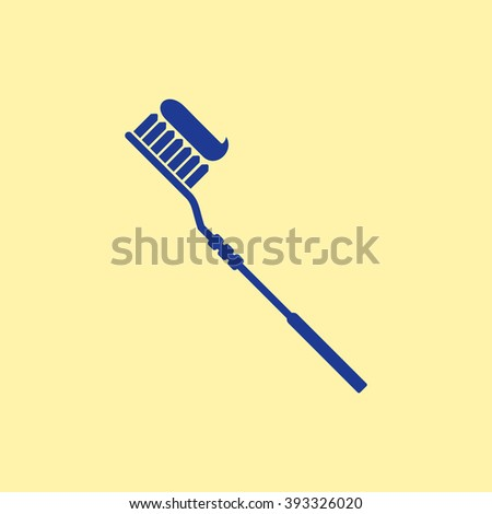 Blue Colored Toothbrush & Paste Icon on Light Orange Background. Eps-10. - stock vector