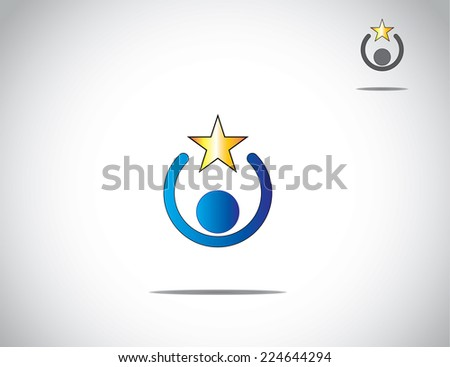 blue colorful young person work holding a yellow golden star award of success, excellence and amazing achievement - simple unique concept illustration of business leadership & innovation - stock vector