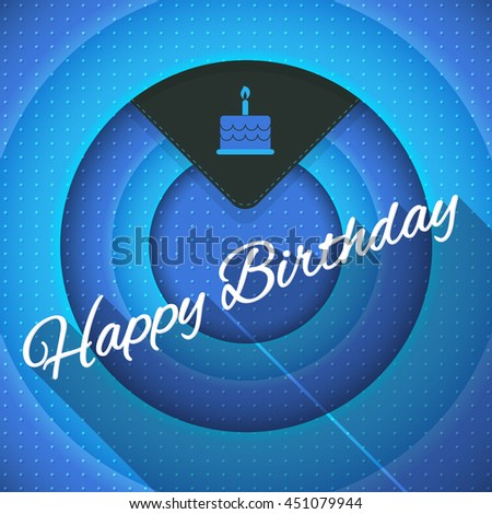 Blue Colors Movie Frames Style Happy Birthday Design, Vector Greeting Card - stock vector