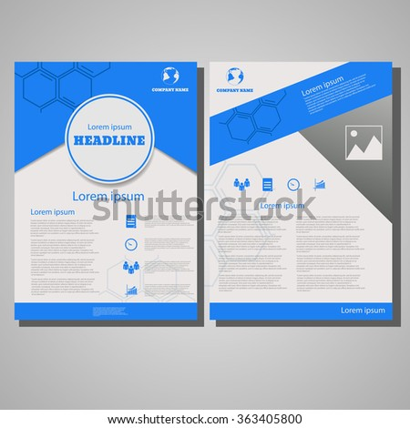 Blue colour Brochure Flyer design Layout template, size A4, Front page and back page design eps 10 vector illustration - stock vector