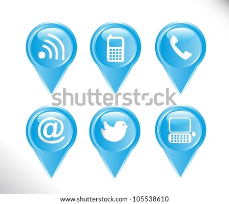 blue communication icons over white background. vector - stock vector