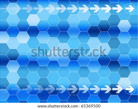Blue communications background with arrows and Hexagon - stock vector