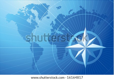 Blue compass. Vector background. - stock vector