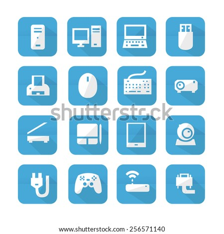 Blue computers device icons. Vector pictograms - stock vector