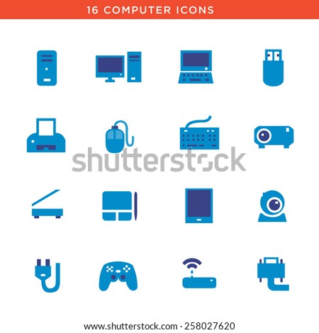 Blue computers device icons. Vector pictograms