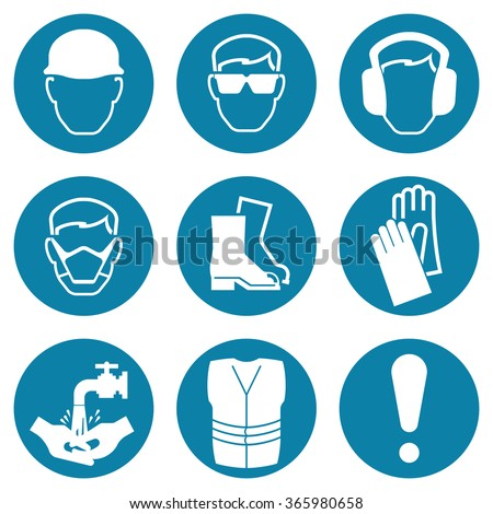 Blue construction and manufacturing Industry Health and Safety Icon collection isolated on white background - stock vector