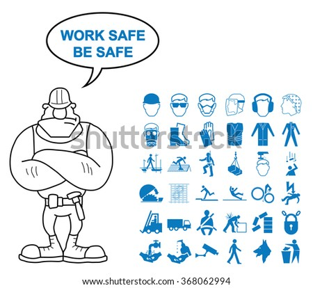 Blue construction manufacturing and engineering health and safety related graphics set isolated on white background with work safe be safe message - stock vector