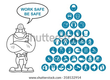 Blue construction manufacturing and engineering health and safety related pyramid icon collection isolated on white background with work safe message