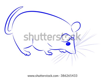 Blue contour cute plump mouse. Vector illustration