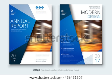 Blue Corporate Business Annual Report Cover, Brochure Or Flyer Design.  Leaflet Presentation. Catalog  Free Report Cover Templates