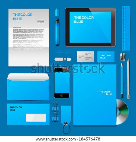 Blue Corporate ID mockup. Consist of business cards, cd disk, notepad, pen, envelope, badge, stationery, usb flash drive, folder, tablet, smart phone, blank. Vector illustration.  - stock vector