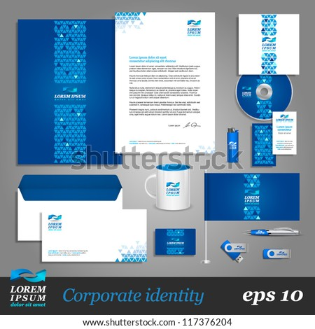 Blue corporate identity template with digital elements. Vector company style for brandbook and guideline. EPS 10 - stock vector