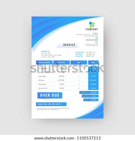 Blue Corporate Invoice Estimate Template Stock Vector Royalty Free