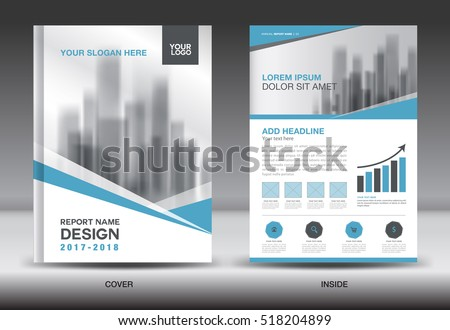 Blue Cover Annual Report Brochure Flyer Stock Vector 518204899