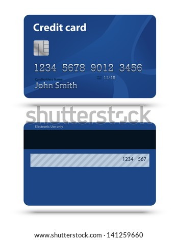 Blue creadit card. Two sides - stock vector