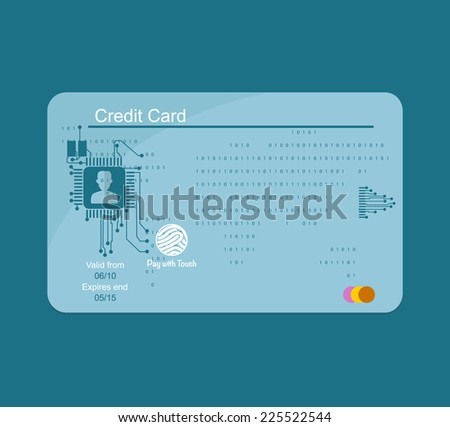 Blue credit card. Banking concept. - stock vector