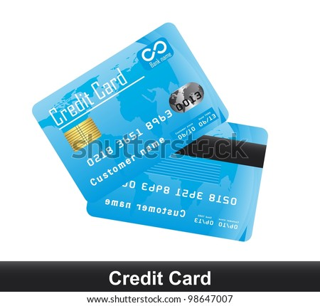 blue credit card isolated over white background. vector