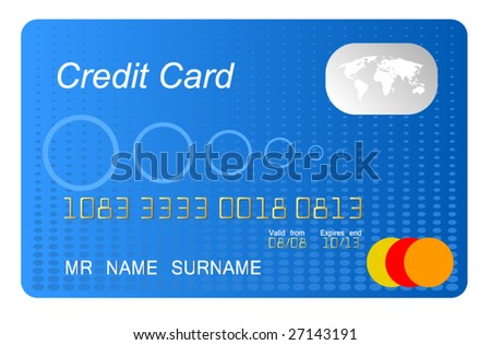 blue credit card vector, highly detailed, vector - stock vector
