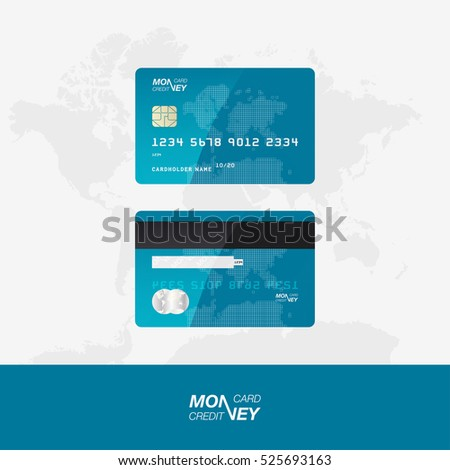 Blue Credit Card vector illustration. The front and back side of the card against the background of the world map.