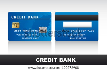 blue credit card with shadow over grey background. vector - stock vector