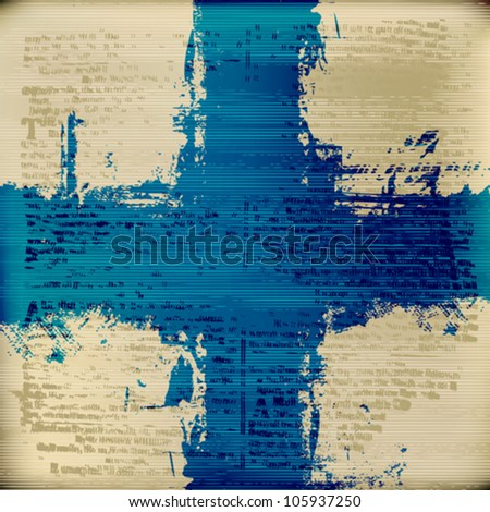 Blue Cross over grunged blurred antique text texture background - stock vector