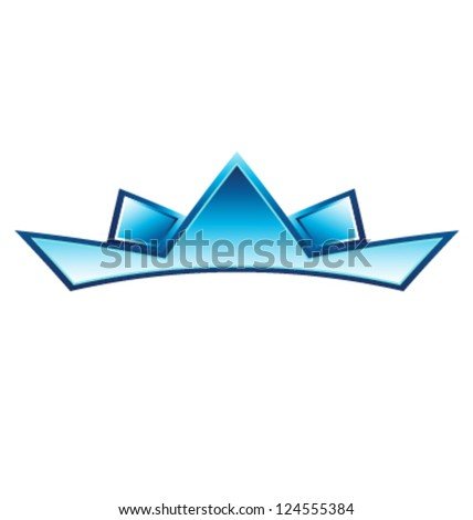 Blue crown logo template - stock vector