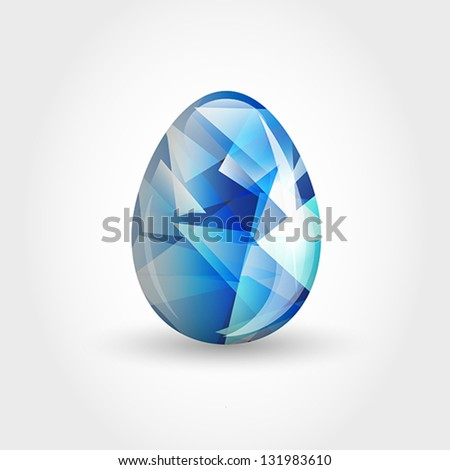 blue crystal  egg, easter and spring concept, - stock vector