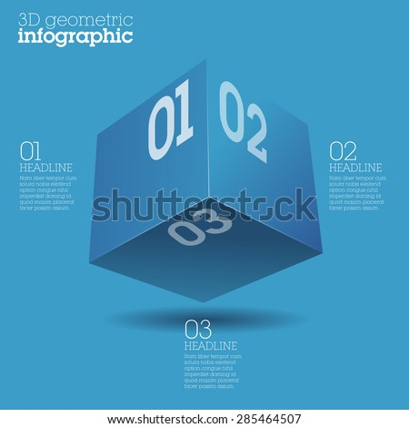 Blue cube infographic design / abstract form suitable for infographics, book cover or web banner or user interface