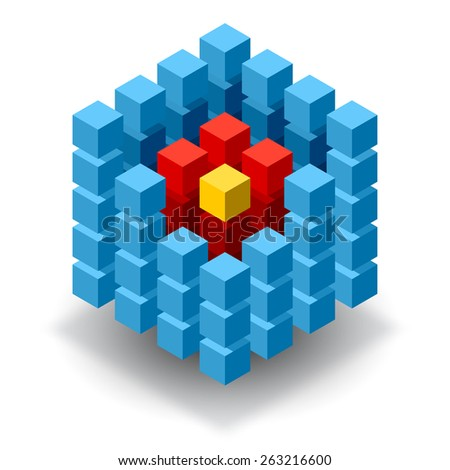 Blue cube logo with red and yellow segments. - stock vector