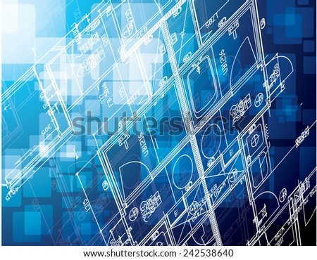 blue cubes blueprint illustration design over a blue background - stock vector