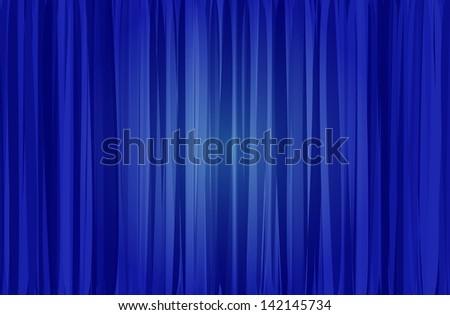 blue curtain - stock vector