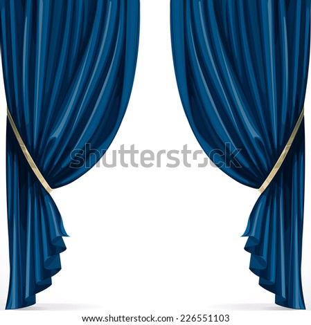 Blue curtain collected in folds ribbon isolated on a white background