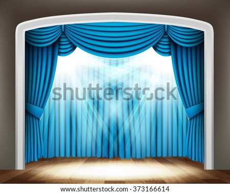 Blue curtain of classical theater with spotlights on wood floor - stock vector